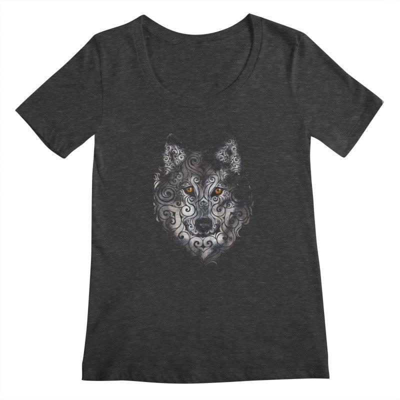 Swirly Wolf Women's Scoopneck by VectorInk's Artist Shop