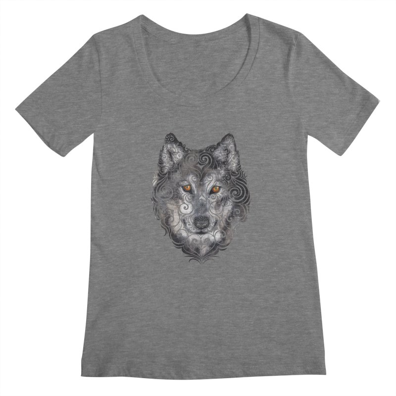 Swirly Wolf Women's Regular Scoop Neck by VectorInk's Artist Shop