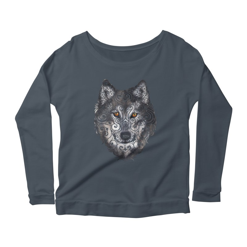 Swirly Wolf Women's Scoop Neck Longsleeve T-Shirt by VectorInk's Artist Shop