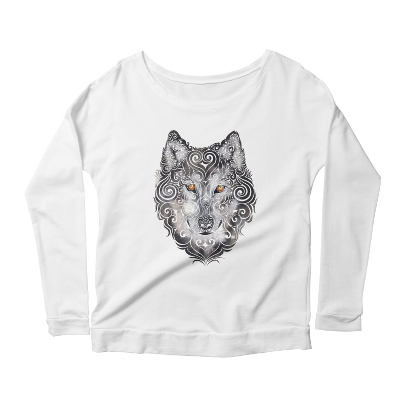 Swirly Wolf Women's Longsleeve Scoopneck  by VectorInk's Artist Shop