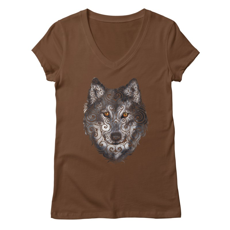 Swirly Wolf Women's V-Neck by VectorInk's Artist Shop