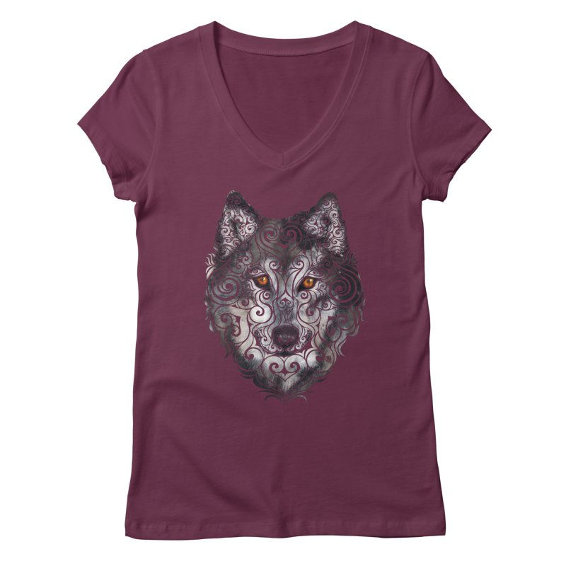 Swirly Wolf Women's V-Neck by VectorInk's Artist Shop