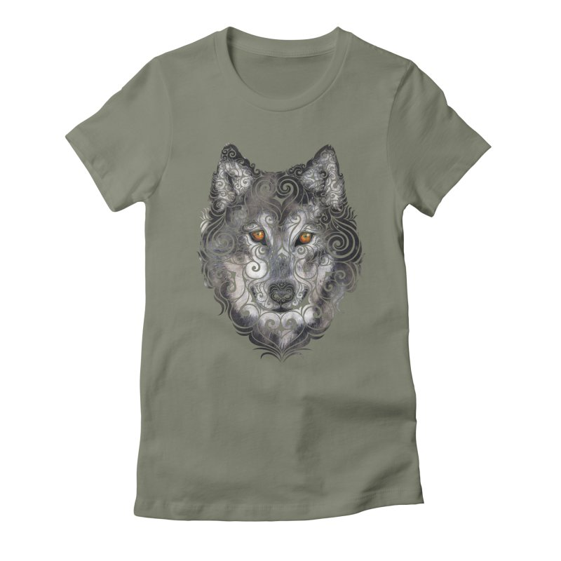 Swirly Wolf Women's Fitted T-Shirt by VectorInk's Artist Shop