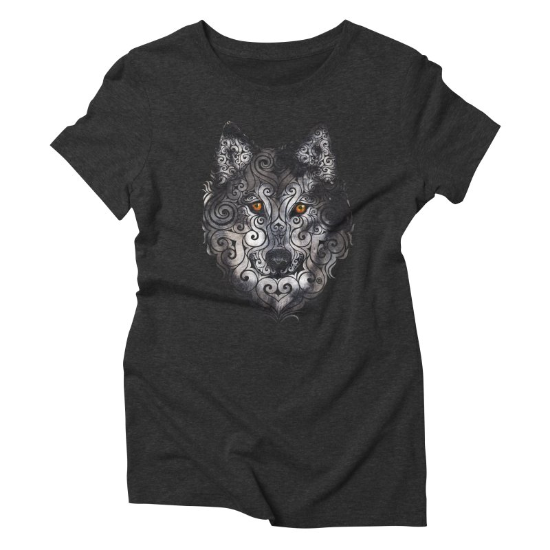 Swirly Wolf Women's Triblend T-shirt by VectorInk's Artist Shop