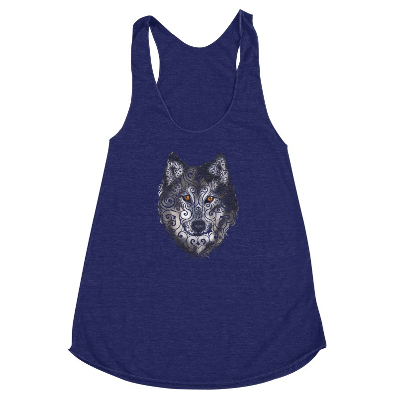 Swirly Wolf Women's Racerback Triblend Tank by VectorInk's Artist Shop