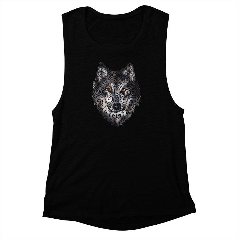 Swirly Wolf Women's Muscle Tank by VectorInk's Artist Shop