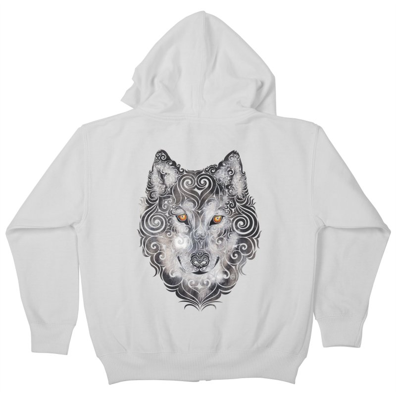 Swirly Wolf Kids Zip-Up Hoody by VectorInk's Artist Shop