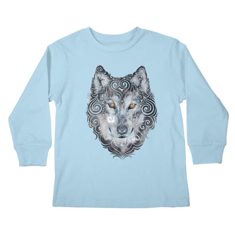 Swirly Wolf Kids Longsleeve T-Shirt by VectorInk's Artist Shop