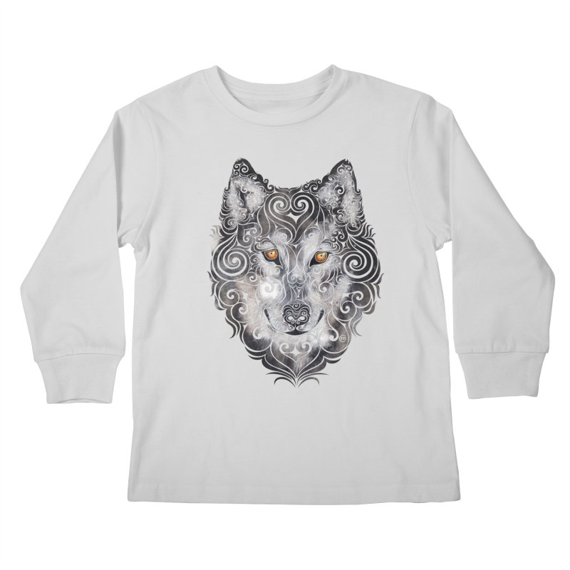 Swirly Wolf Kids Longsleeve T-Shirt by VectorInk's Artist Shop