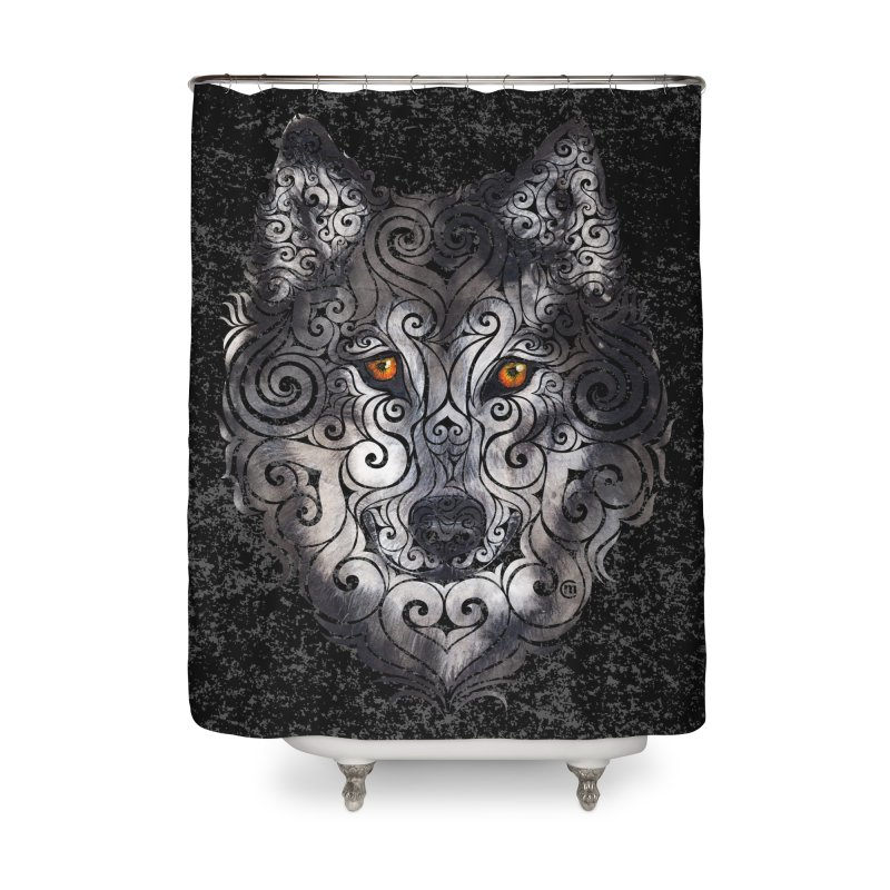 Swirly Wolf Home Shower Curtain by VectorInk's Artist Shop