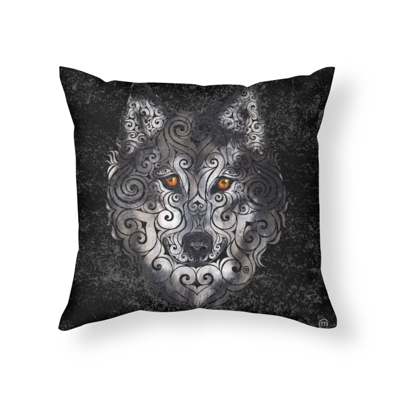 Swirly Wolf Home Throw Pillow by VectorInk's Artist Shop