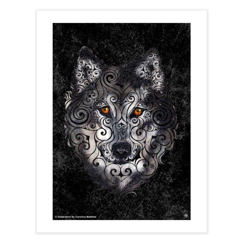 Swirly Wolf Home Fine Art Print by VectorInk's Artist Shop