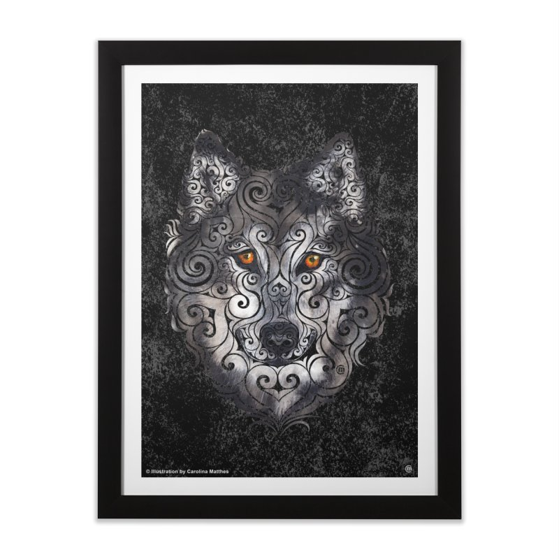 Swirly Wolf Home Framed Fine Art Print by VectorInk's Artist Shop