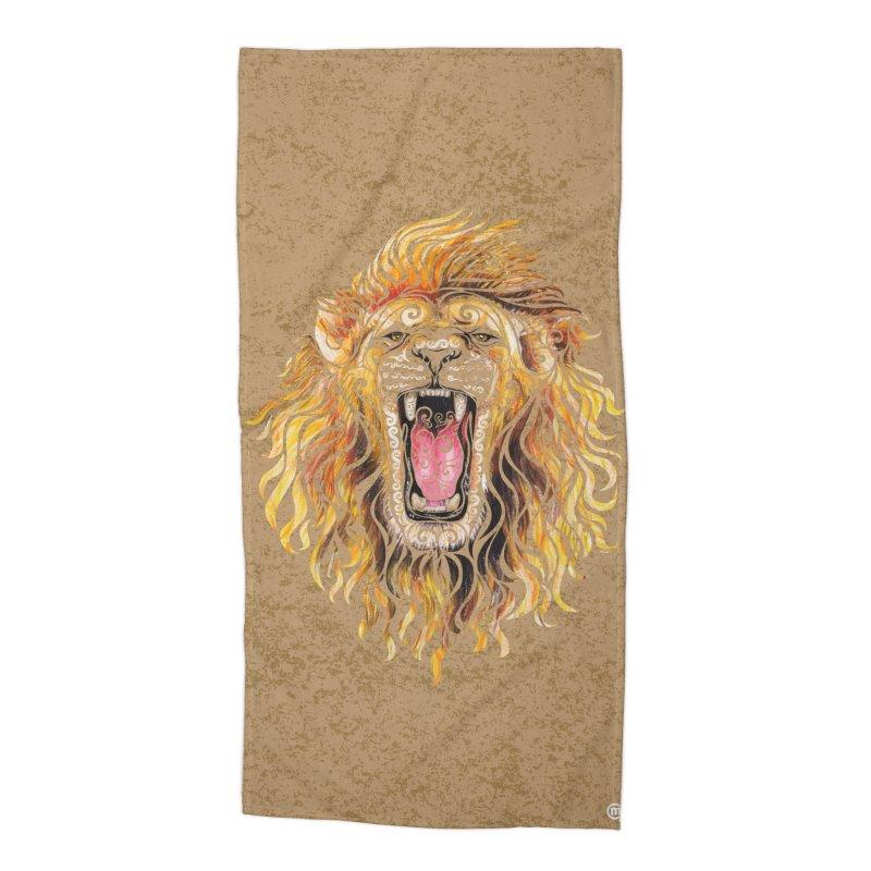 Swirly Lion Accessories Beach Towel by VectorInk's Artist Shop