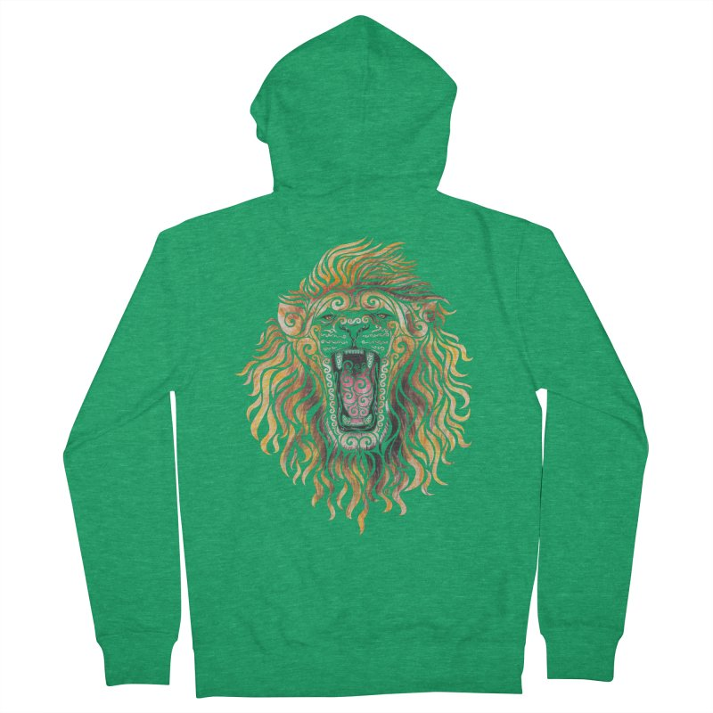 Swirly Lion Women's French Terry Zip-Up Hoody by VectorInk's Artist Shop