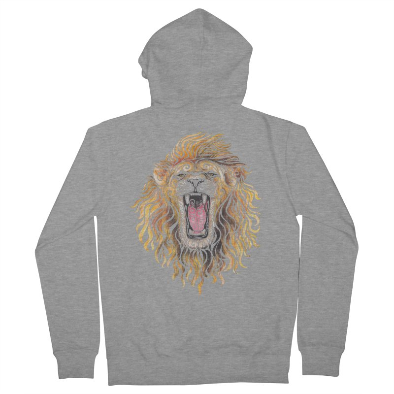 Swirly Lion Men's French Terry Zip-Up Hoody by VectorInk's Artist Shop