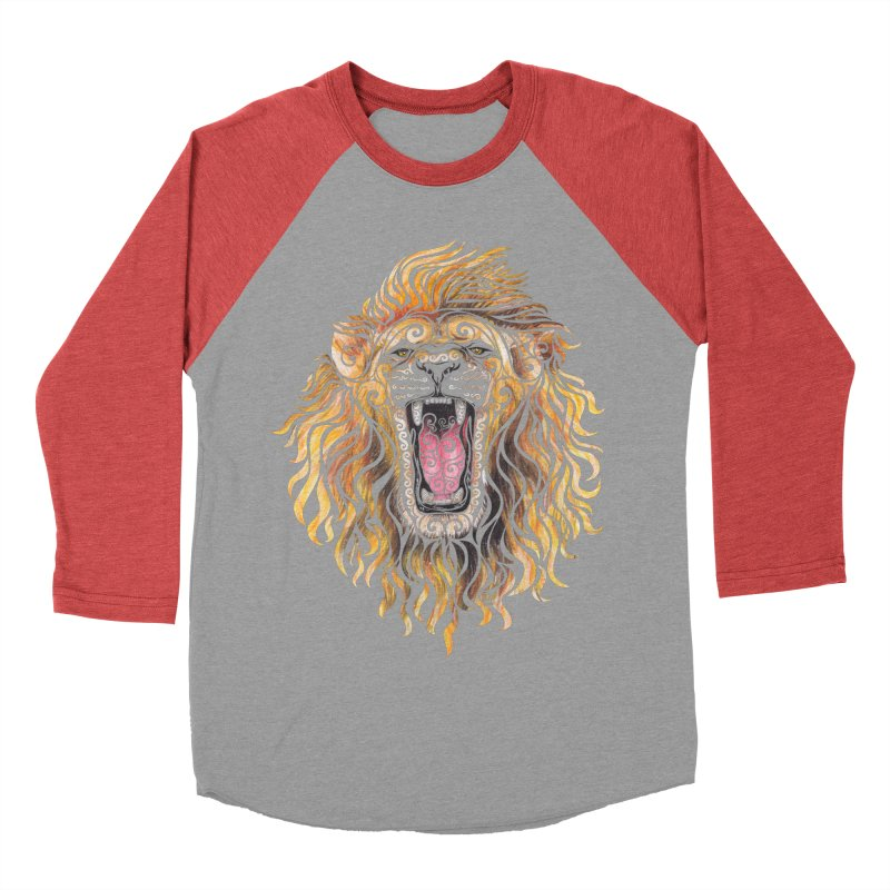 Swirly Lion Men's Baseball Triblend T-Shirt by VectorInk's Artist Shop