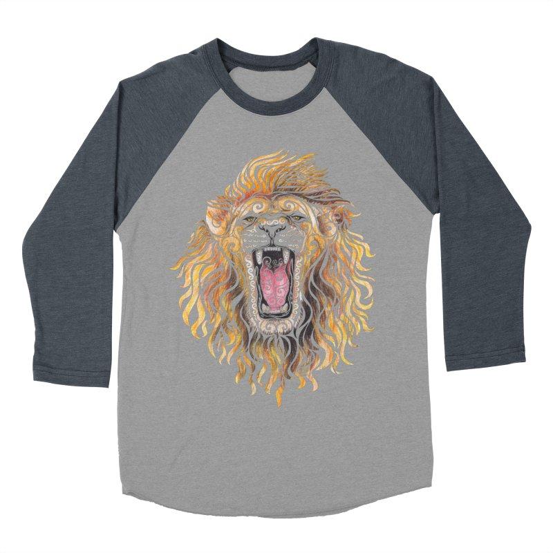 Swirly Lion Men's Baseball Triblend Longsleeve T-Shirt by VectorInk's Artist Shop