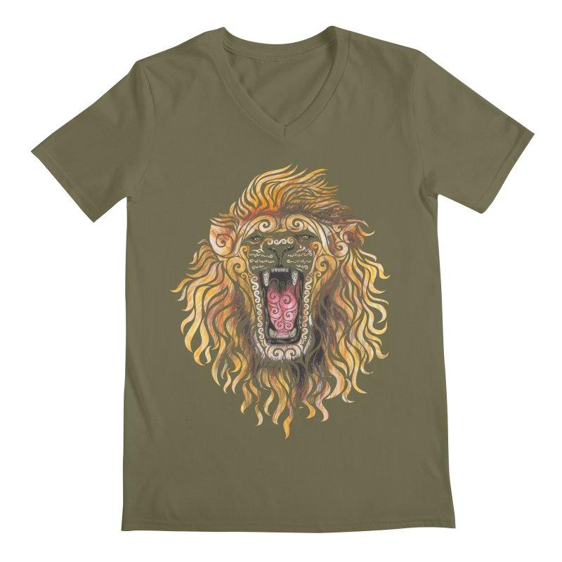 Swirly Lion Men's Regular V-Neck by VectorInk's Artist Shop
