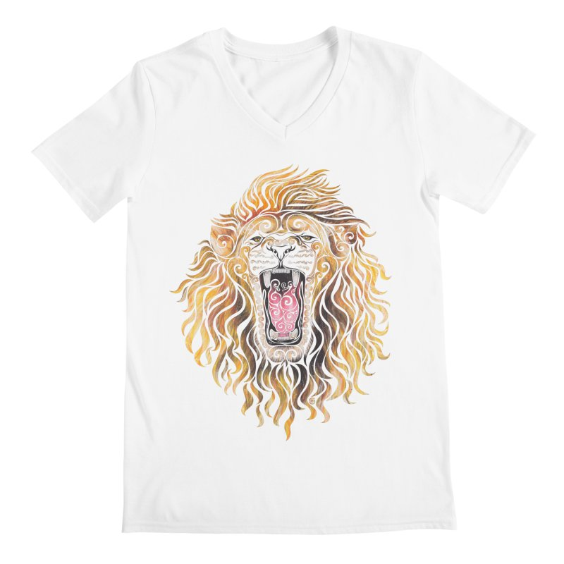Swirly Lion Men's V-Neck by VectorInk's Artist Shop