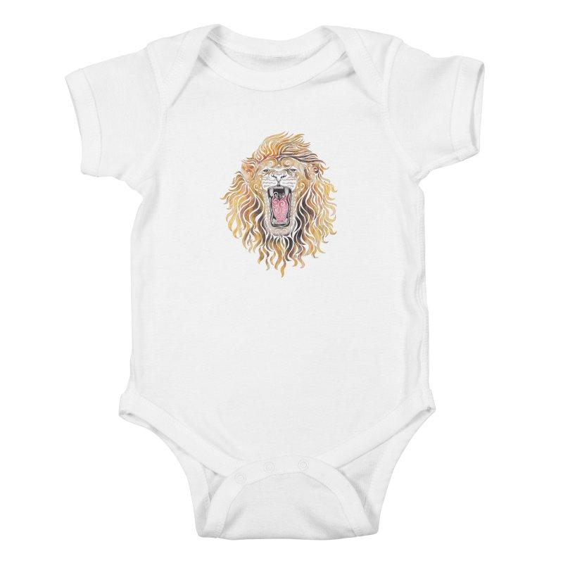 Swirly Lion Kids Baby Bodysuit by VectorInk's Artist Shop