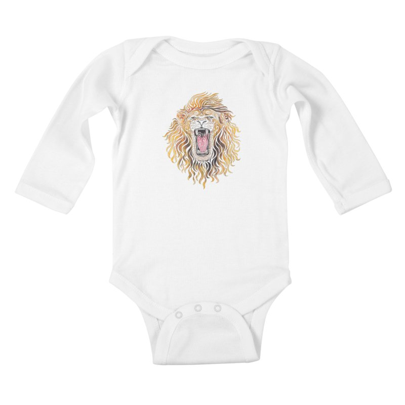 Swirly Lion Kids Baby Longsleeve Bodysuit by VectorInk's Artist Shop