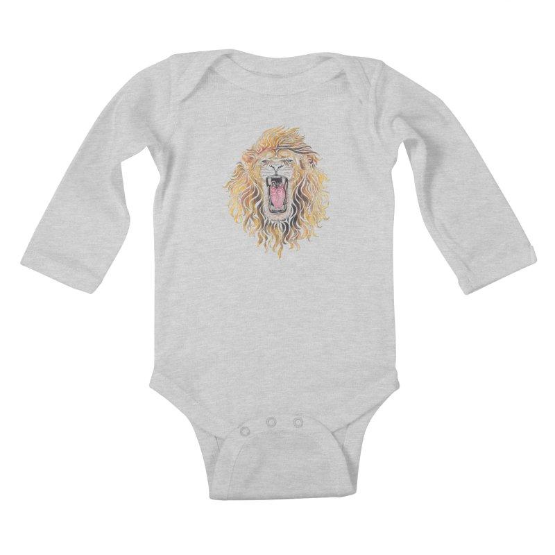 Swirly Lion Kids Baby Longsleeve Bodysuit by VectorInk's Artist Shop