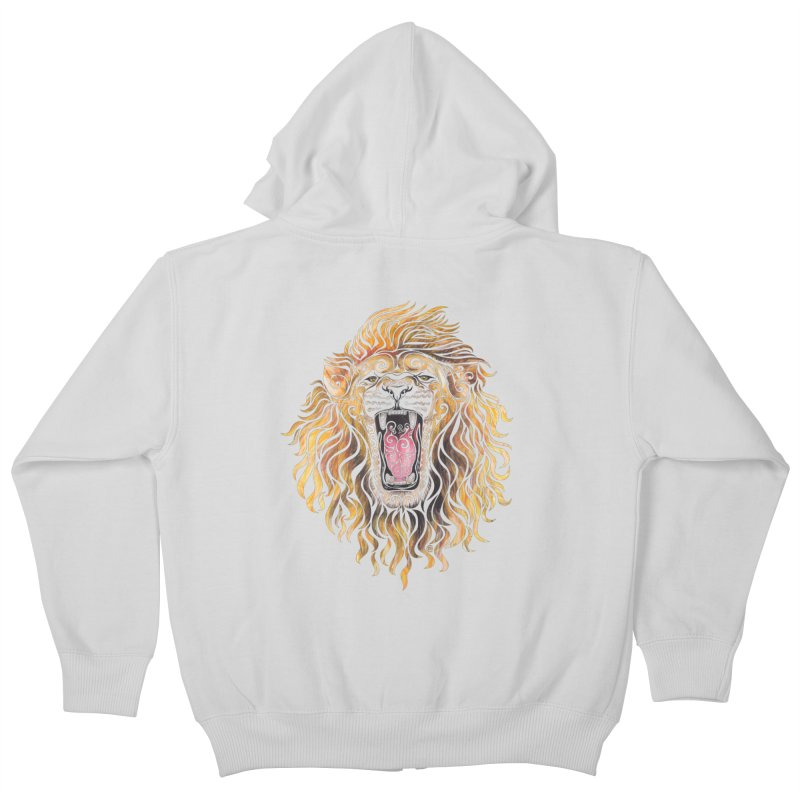 Swirly Lion Kids Zip-Up Hoody by VectorInk's Artist Shop