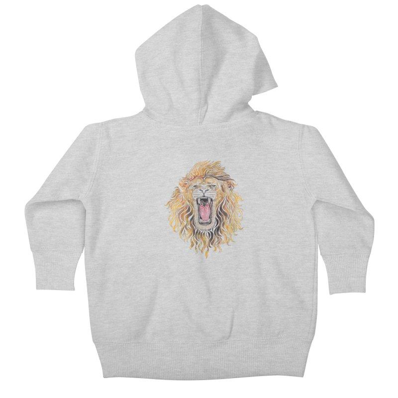 Swirly Lion Kids Baby Zip-Up Hoody by VectorInk's Artist Shop