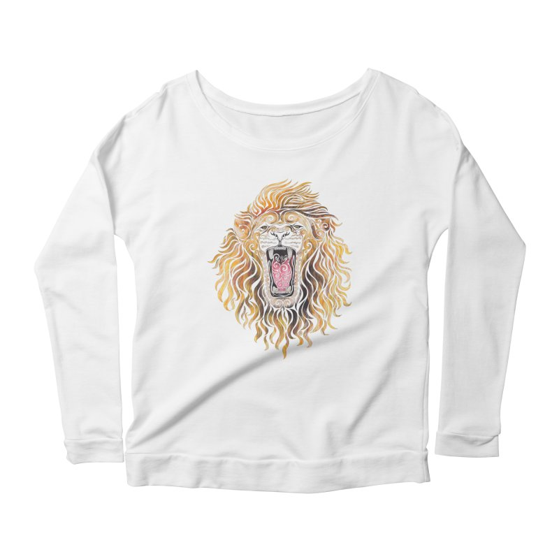 Swirly Lion Women's Scoop Neck Longsleeve T-Shirt by VectorInk's Artist Shop