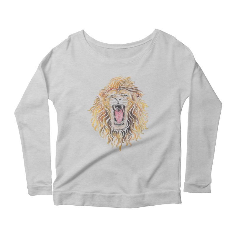 Swirly Lion Women's Longsleeve Scoopneck  by VectorInk's Artist Shop