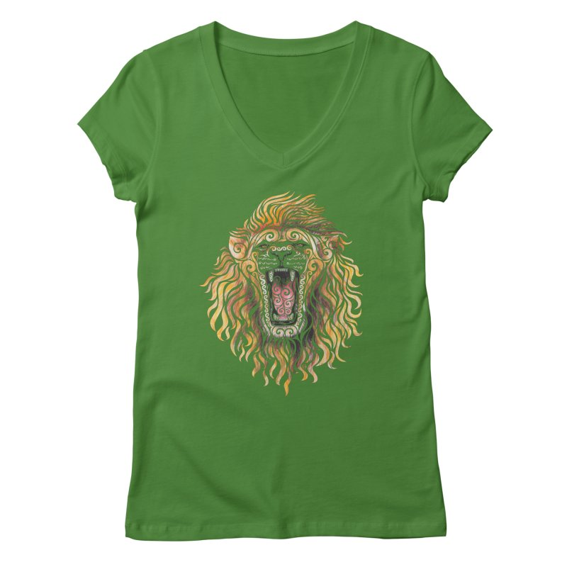 Swirly Lion Women's V-Neck by VectorInk's Artist Shop