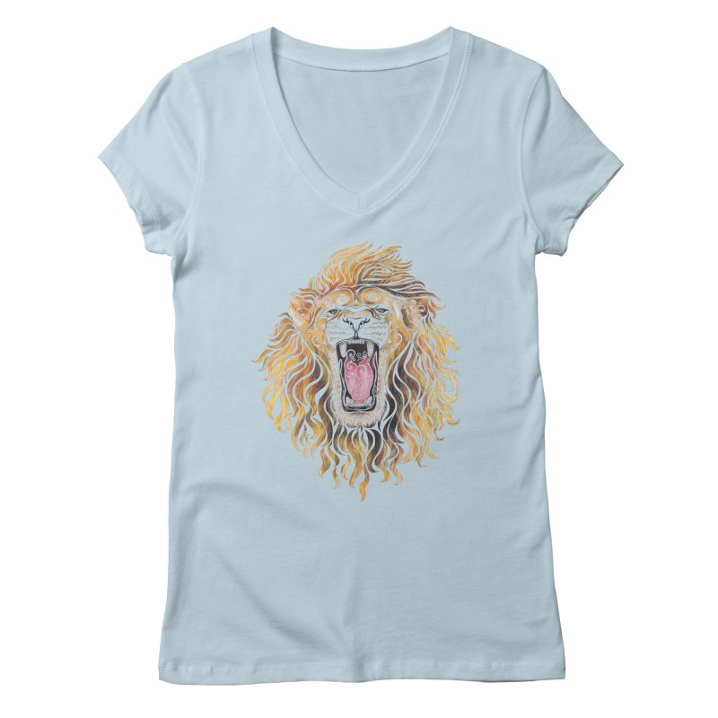 Swirly Lion Women's V-Neck by VectorInk's Artist Shop