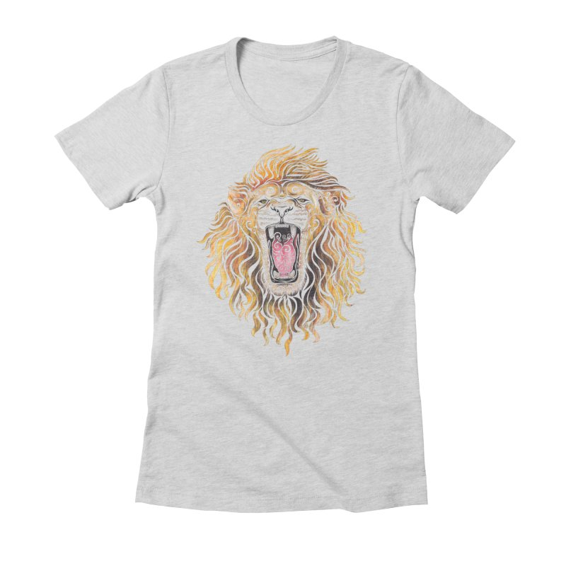 Swirly Lion Women's Fitted T-Shirt by VectorInk's Artist Shop