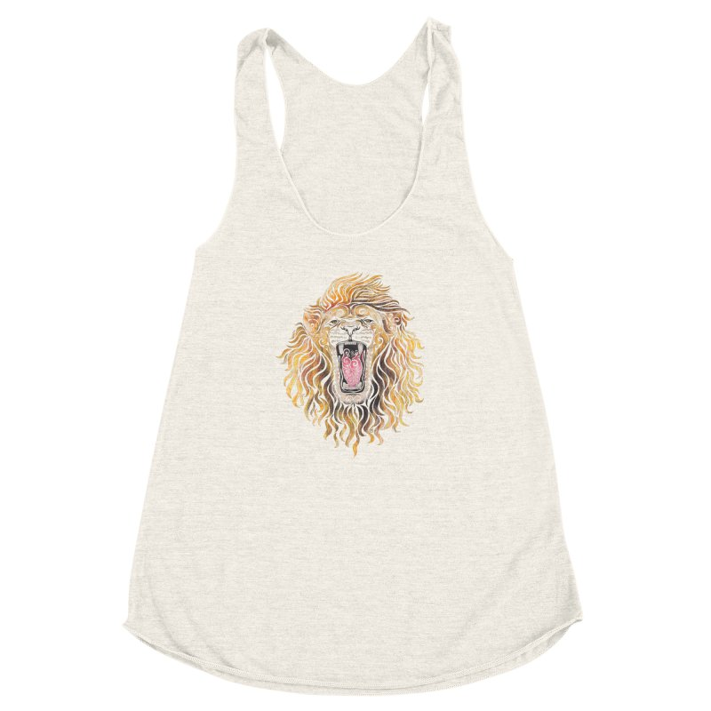 Swirly Lion Women's Racerback Triblend Tank by VectorInk's Artist Shop