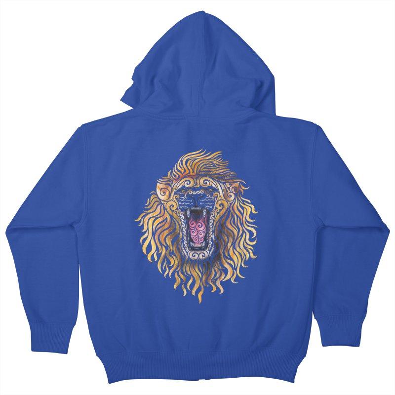 Swirly Lion Kids Zip-Up Hoody by VectorInk's Artist Shop