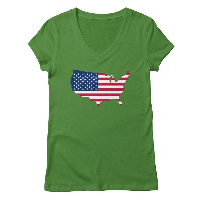United States Patriot Apparel & Accessories Women's Regular V-Neck by Vectors NZ