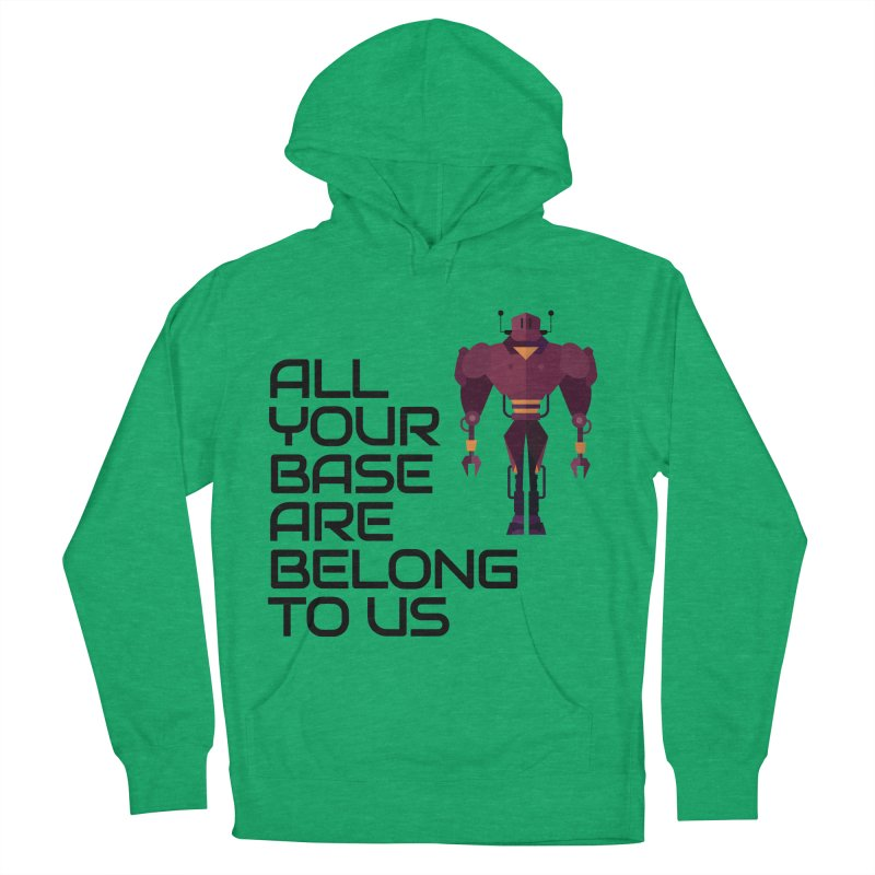 All Your Base (Black Text) Men's French Terry Pullover Hoody by Vectors NZ