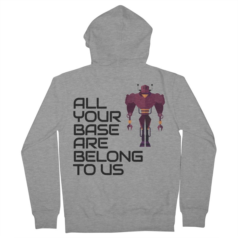 All Your Base (Black Text) Men's French Terry Zip-Up Hoody by Vectors NZ