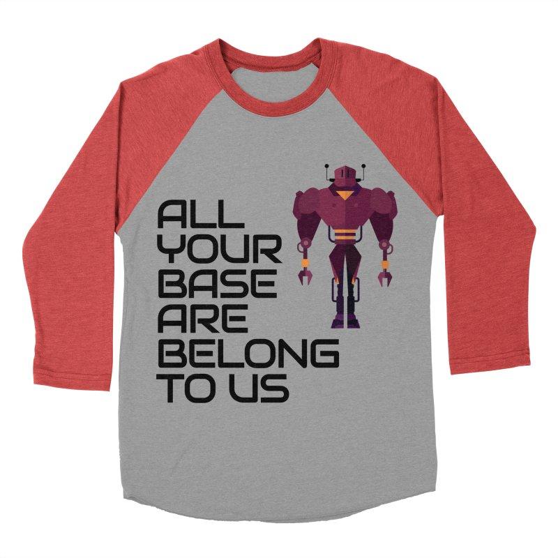 All Your Base (Black Text) Men's Baseball Triblend Longsleeve T-Shirt by Vectors NZ