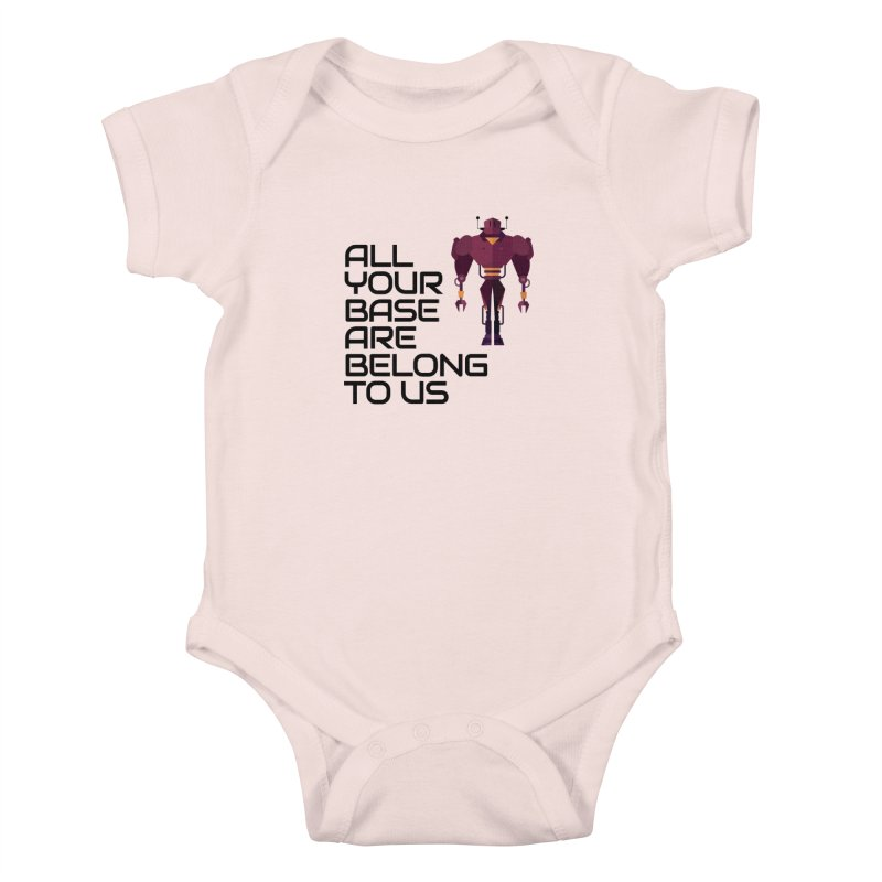 All Your Base (Black Text) Kids Baby Bodysuit by Vectors NZ