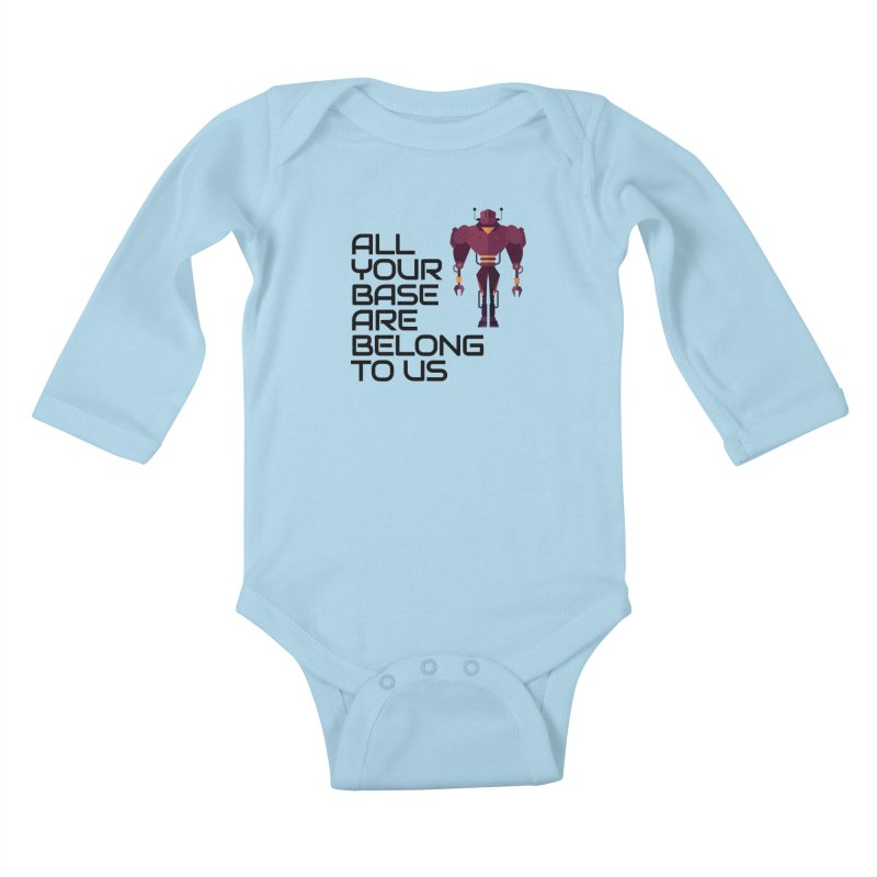 All Your Base (Black Text) Kids Baby Longsleeve Bodysuit by Vectors NZ