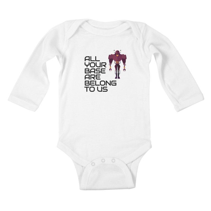 All Your Base (Black Text) Kids Baby Longsleeve Bodysuit by Vectors NZ