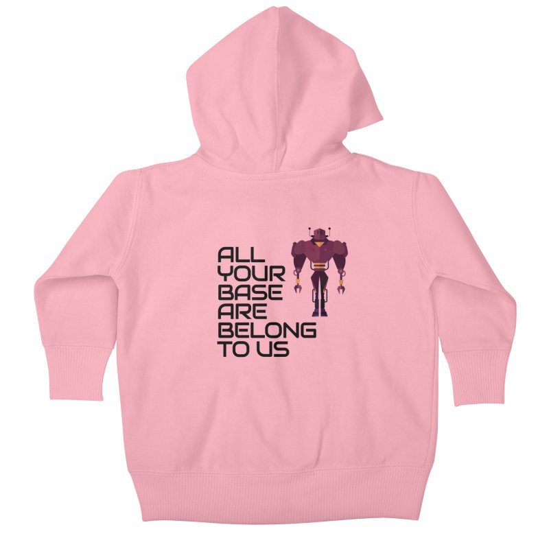 All Your Base (Black Text) Kids Baby Zip-Up Hoody by Vectors NZ