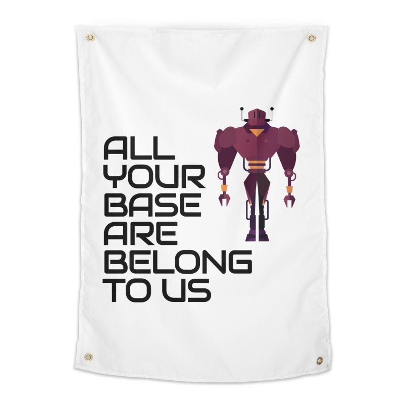 All Your Base (Black Text) Home Tapestry by Vectors NZ