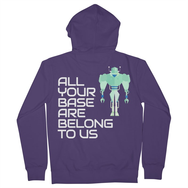 All Your Base (White Text) Women's French Terry Zip-Up Hoody by Vectors NZ