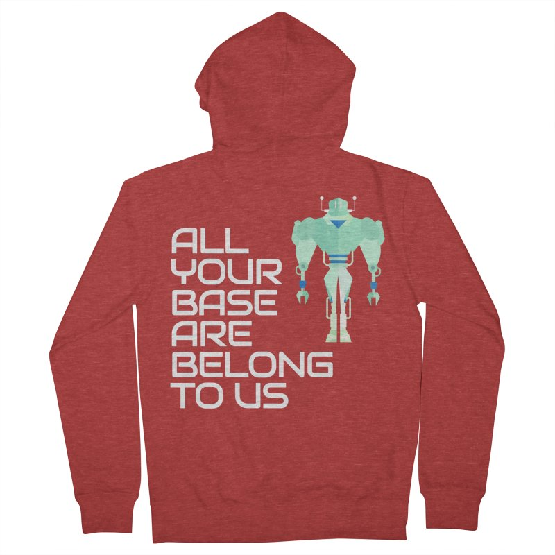 All Your Base (White Text) Men's French Terry Zip-Up Hoody by Vectors NZ