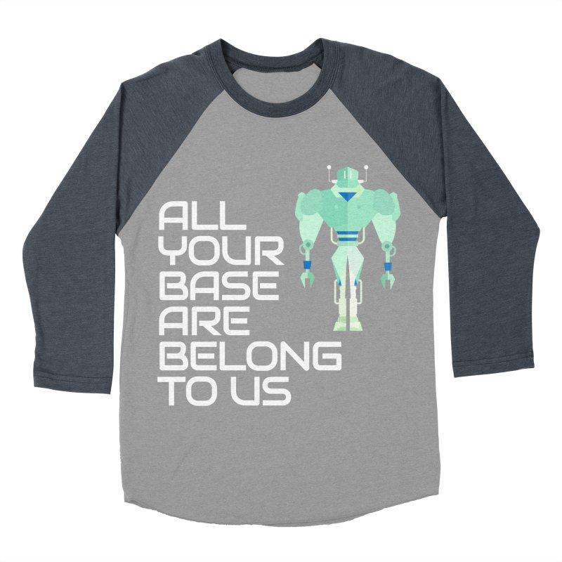 All Your Base (White Text) Women's Baseball Triblend Longsleeve T-Shirt by Vectors NZ