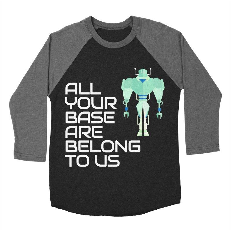 All Your Base (White Text) Men's Baseball Triblend Longsleeve T-Shirt by Vectors NZ
