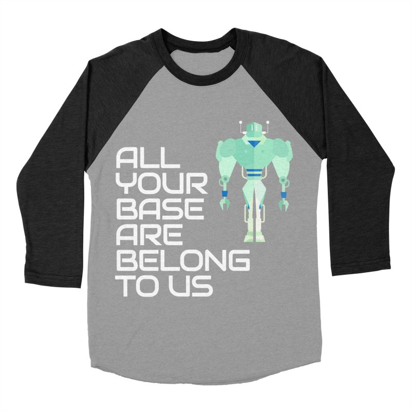 All Your Base (White Text) Men's Baseball Triblend Longsleeve T-Shirt by Vectors NZ